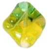 Glass Lamp Bead 16x14mm Green/Yellow Twister